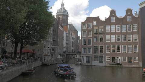 Amsterdam city scene with Basilica of Saint Nicholas, Netherlands Footage