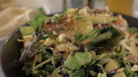Eating mixed green salad Footage