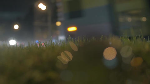 Glass ball at the roadside at night Footage