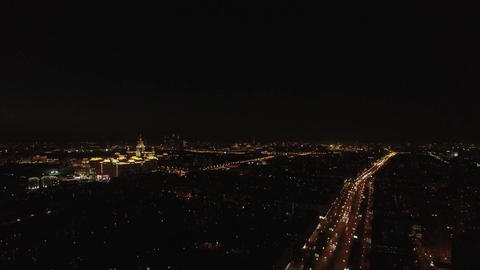 Aerial night view of the Leninsky Avenue, Moscow, Russia Footage