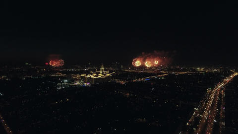 Aerial night view of the Leninsky Avenue and sparkling fireworks, Moscow, Russia Footage