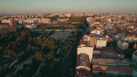 Aerial morning flight above the Moscow district, Russia Footage