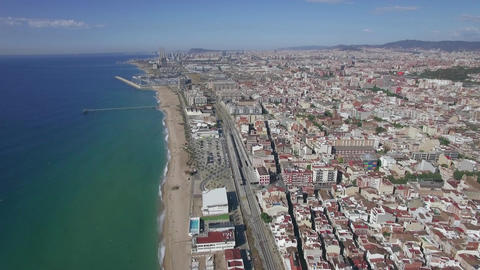 Aerial view of beach, sea, railways and hotels, Barcelona, Spain Image