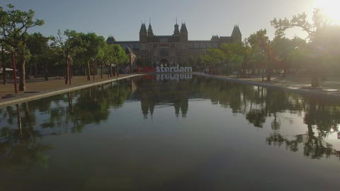 View of National Museum Rijksmuseum at the Museumplein, Amsterdam, Netherlands Footage