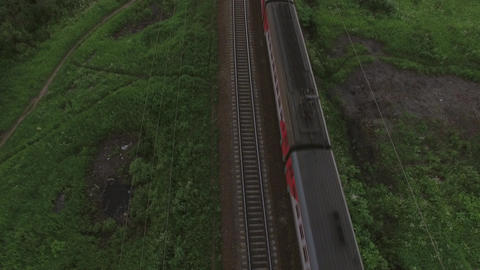 Aerial bird eye view of two railway different direction and moving trains, Russi Image