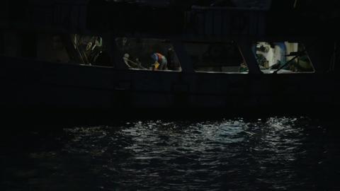 Fishing boat at night Footage