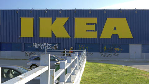 IKEA store with graffiti on the walls Stock Video Footage