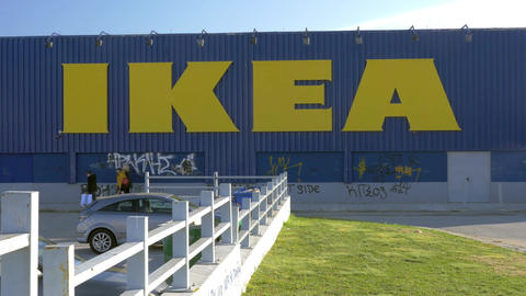 IKEA store with graffiti on the walls Footage