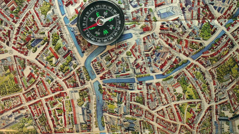 compass on the map orientation in the metropolis Footage