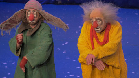 On snow show of Slava Polunin acts are two clowns and start to gesticulate Footage