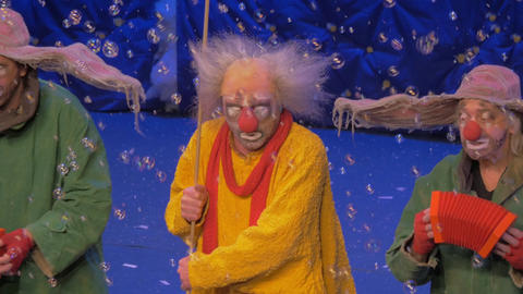Clowns on the stage during Snow Show by Slava Polunin Footage