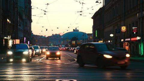 Car traffic in evening Saint Petersburg Footage