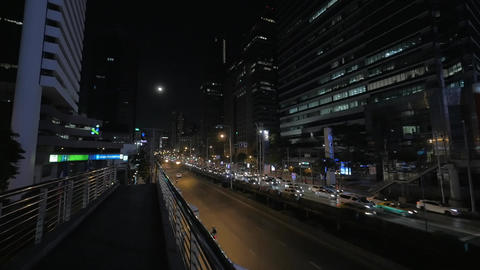 Busy traffic on night roads of Bangkok, Thailand Footage