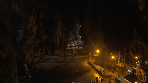 At Batu Caves, Malaysia seen stalactites and stalagmites, interior of cave and t Footage