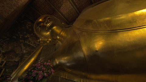 Reclining Buddha statue in Wat Pho temple, Bangkok Footage