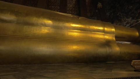 Giant reclining Buddha statue in Wat Pho temple, Bangkok Footage