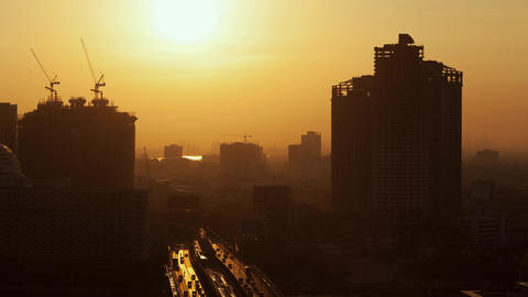 Timelapse of morning coming to Bangkok city, Thailand Footage