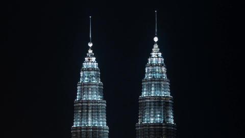 Timelapse of illuminated Petronas Twin Towers, Kuala Lumpur Footage