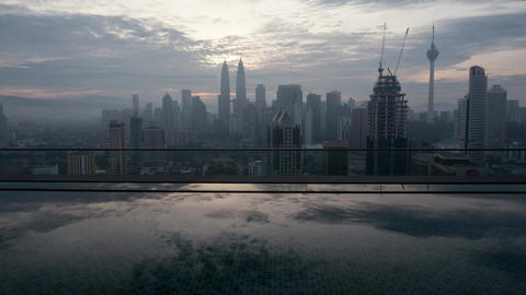 Timelapse of Kuala Lumpur, city view from rooftop pool Footage