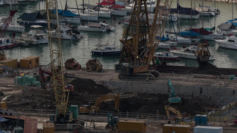 Timelapse of construction works on the waterside Filmmaterial