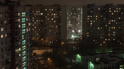 Time lapse view of sleeping buildings and complexes with yard and road, Moscow,  Footage