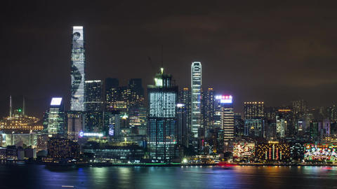 Timelapse of Hong Kong illuminated at night Footage