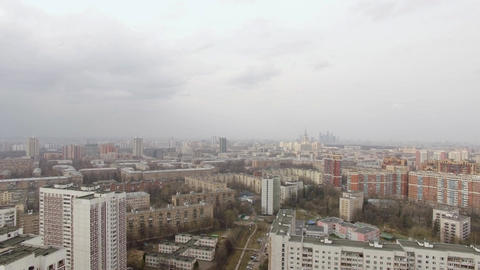 Aerial view of one of the districts of Moscow. Moscow state University and Mosco Footage