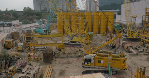 Works on construction site in Hong Kong Live Action