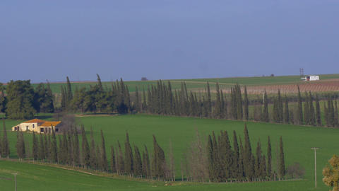Panoramic shot of rural landscape in Nea Kallikrateia. Village, agricultural fie Footage
