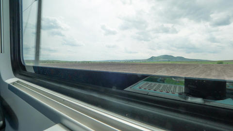 Timelapse of changing landscapes in the train window Footage