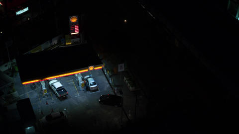 Timelapse of petrol station working night and day Live Action