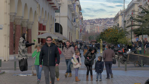 People are walking along the pedestrian street in the daytime. Thessaloniki, Gre Footage
