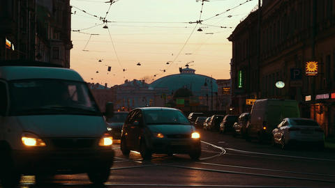 Transport traffic in evening St. Petersburg, Russia Footage