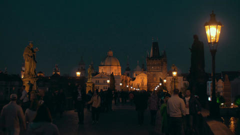 Night view of Charles Bridge and Old Town in Prague Live Action