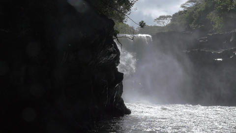 Slow motion view of waterfall. Port Louis, Mauritius Island Footage