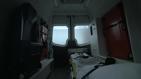 View inside of driving empty ambulance car Live Action