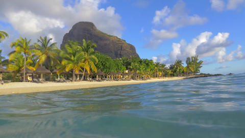 Tropical resort on Mauritius, view from water Footage