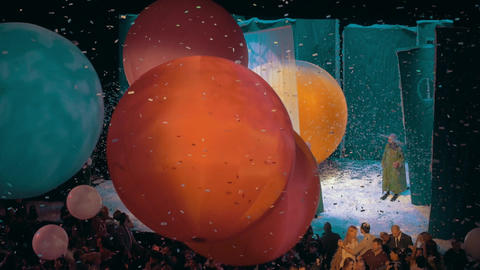 Slava Polunin Snow Show. People playing with huge balloons Footage
