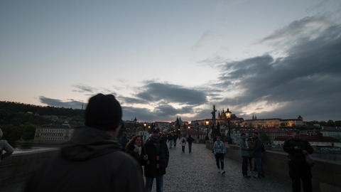 Timelapse view of walking people on the picturesque Charles Bridge, Prague, Czec Live Action