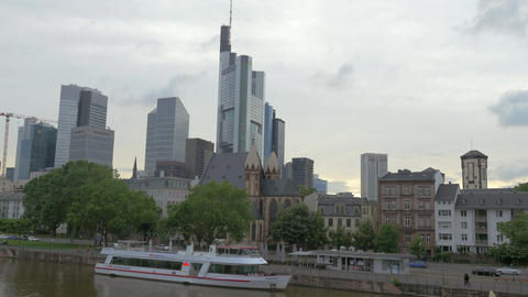View on the Innenstadt Frankfurt, skyscrapers district with Main Tower, Frankfur Live Action