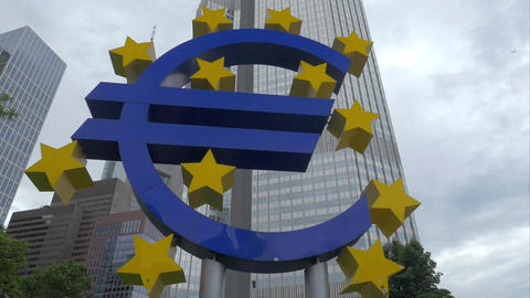 Euro symbol at Eurotower in Frankfurt, Germany Footage