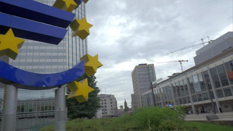 Frankfurt city with euro sign at European Central Bank Footage