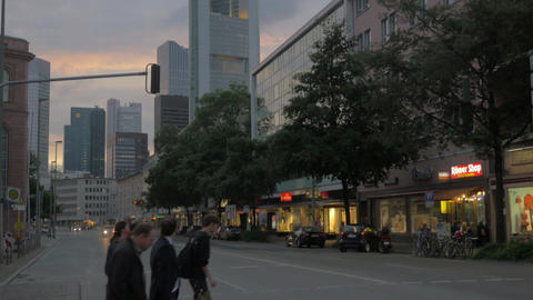 People crossing the road in Frankfurt, Germany Footage