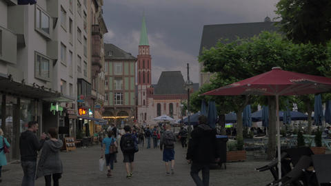 People in the evening streets of Frankfurt, Germany Footage