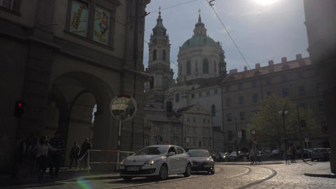 View of Saint Nicholas Church Old Town Square in Prague… Stock Video Footage