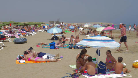People relaxing on the beach of Gran Canaria Footage