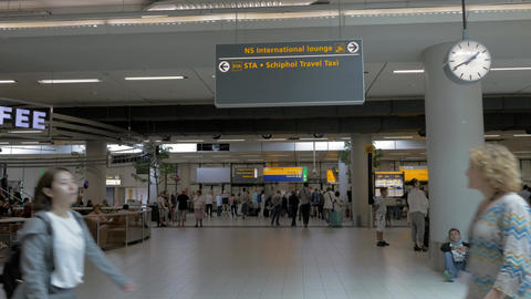 Indoor view of Amsterdam Airport Schiphol Stock Video Footage