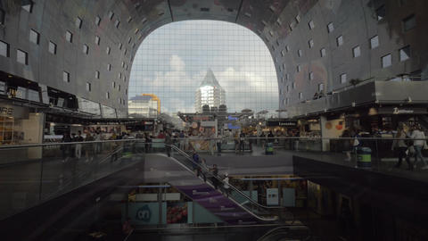 View to the stores and people in Market Hall, Rotterdam Footage