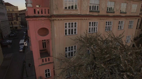 Aerial view of typical Europian house and near blooming tree, Prague, Czech Repu Live Action