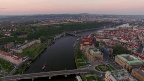 Aerial view along Vltava river in the summer. Prague, Czech Republic Footage